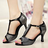 baratos Sapatilhas de Dança-Mulheres Sapatos de Dança Latina Glitter / Micofibra Sintética PU Salto Presilha Personalizável Sapatos de Dança Prata / Cinzento / Roxo / Interior / Couro