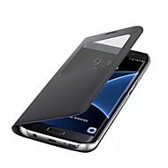 billiga Mobil cases & Skärmskydd-fodral Till Samsung Galaxy S8 Plus / S8 med fönster Fodral Enfärgad Hårt PU läder för S8 Plus / S8 / S7 edge