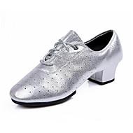"""billige Moderne sko-Dame Latin Kunstlær Sandaler Joggesko Profesjonell Blomst Lav hæl Gull Sølv 2 """"- 2 3/4"""""""