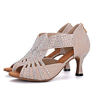"cheap Dance Shoes-Women's Latin Glitter Sandal Heel Performance Rhinestone Buckle Flared Heel Gold Pink Black/White White/Silver 1"" - 1 3/4"" 2"" - 2 3/4"" 3"""