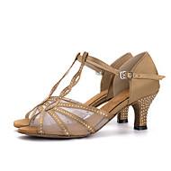 Pentru femei Pantofi Dans Latin Mătase Sandale / Călcâi Piatră Semiprețioasă / Cataramă Toc Flared Pantofi de dans Rosu / Albastru /