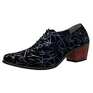 Masculino sapatos Couro Camurça Primavera Outono Conforto Sapatos formais Saltos Para Casual Festas & Noite Preto e Dourado Preto e