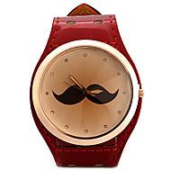女性用 ファッションウォッチ ユニークなクリエイティブウォッチ ダミー ダイアモンド 腕時計 中国 クォーツ 模造ダイヤモンド レザー バンド 光沢タイプ Mustaches シルバー レッド ゴールド