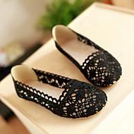 Damen Schuhe PU Frühling Komfort Flache Schuhe Flacher Absatz Runde Zehe Für Normal Schwarz Beige