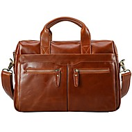 Men Bags All Seasons Cowhide Briefcase Zipper for Casual Office & Career Brown
