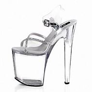 Žene Cipele PVC PU Ljeto svečane cipele Sandale Stiletto potpetica Peep Toe Štras Kopča Vezanje za Formalne prilike Zabava i večer Crn