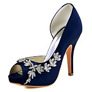 Women's Shoes Stretch Satin Spring / Summer Basic Pump Heels Stiletto Heel Peep Toe Crystal Dark Purple / Burgundy / Ivory / Wedding