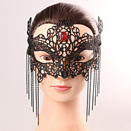 Zwart masker sexy kant halloween partij fancy kant vrouwelijke kwastje kristal masker lingerie kant masker feest