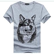 남성용 동물 라운드 넥 슬림 프린트 - 티셔츠, 활동적 면 / 린넨 늑대 화이트 XXXL / 여름