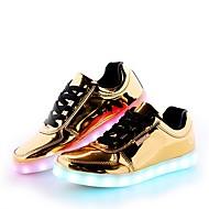 Herre sko Syntetisk Mikrofiber PU Vår Høst Komfort Lette såler Lysende sko Treningssko Snøring Til Avslappet Fest/aften Gull Sølv