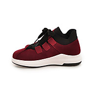 Women's Sneakers Comfort Leatherette Fall Winter Casual Outdoor Office & Career Dress Lace-up Flat Heel Wine Green Brown Black Flat