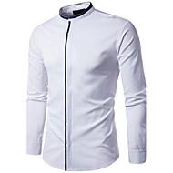 Stående krave Herre - Ensfarvet Bomuld Skjorte