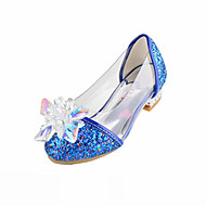 Girls' Flats Novelty Flower Girl Shoes Comfort Fall Winter Leatherette Casual Dress Sequin Flat Heel Silver Blue Blushing Pink Flat