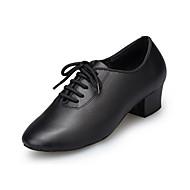 """billige Moderne sko-Dame Latin Lær Høye hæler Profesjonell Tykk hæl Svart 1 """"- 1 3/4"""""""