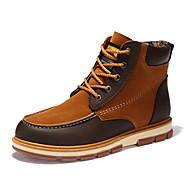 Miehet kengät Nupukkinahka Fleece Syksy Talvi Comfort Muotisaappaat Bootsit Säärisaappaat Split Joint Käyttötarkoitus Kausaliteetti Musta