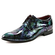 baratos Sapatos Masculinos-Homens Impressão Oxfords Couro Envernizado Verão / Outono Conforto Oxfords Caminhada Roxo / Azul / Festas & Noite