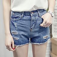 Feminino Simples Cintura Alta Inelástico Shorts Calças,Perna larga Sólido