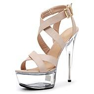 baratos Sapatos Femininos-Mulheres Sapatos Couro Ecológico Verão Sapatos formais Sandálias Salto Agulha Peep Toe Cristais / Presilha Preto / Bege / Festas & Noite