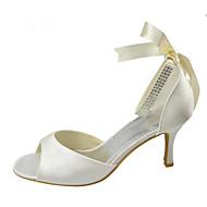 billige Bryllupssko-Dame bryllup sko Basispumps Strekksateng Sommer Bryllup Fest/aften Krystall Stiletthæl Hvit Krystall 7,5 - 9,5 cm