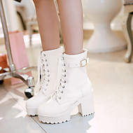 cheap -Women's Shoes PU(Polyurethane) Spring / Fall Comfort Boots Chunky Heel Round Toe White / Black / Brown