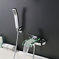 Contemporary High Quality Wall Mounted Waterfall with Single Handle Two Holes Chrome Finish Bathroom Bathtub Faucet