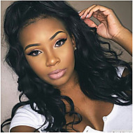 cheap Wigs & Hair Pieces-Human Hair Lace Front Wig Wavy Body Wave 130% Density 100% Hand Tied African American Wig Natural Hairline Short Medium Long Women's