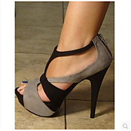 Women's Heels Comfort Summer PU Casual Gray 4in-4 3/4in