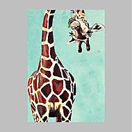 מצויר ביד בעלי חיים אומנותי מודרני / עכשווי פנל אחד בד ציור שמן צבוע-Hang For קישוט הבית