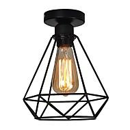 baratos Luminárias de Teto-Vintage 1 luzes black metal cage lustre teto lâmpada flush mount sala de jantar cozinha luz fixture