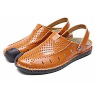 남성 샌들 조명 신발 리얼 가죽 여름 캐쥬얼 플랫 블랙 브라운 어두운 무늬 플랫