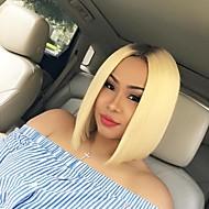 halpa -Naisten Synteettiset peruukit Lace Front Laineikas Bleach Blonde Liukuvärjätyt hiukset Bob-leikkaus Luonnollinen peruukki puku Peruukit