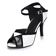 Women's Latin Leather Sandal Indoor Customized Heel Black/White