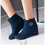 Women's Shoes PU Winter Comfort Boots For Casual Black Red Blue