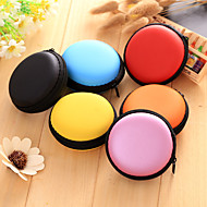 1 pc soild color round earphone zipper storage bag