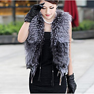 Women's Casual/Daily Street chic Fall Winter Fur CoatSolid V Neck Sleeveless Regular Short Faux Fur Vest