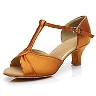 baratos Sapatilhas de Dança-Mulheres Sapatos de Dança Latina Materiais Customizados Esporte & lazer / Salto Salto Baixo Personalizável Sapatos de Dança Castanho