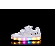 Meisjes Sneakers Oplichtende schoenen Synthetisch Microvezel PU Herfst Winter Causaal Magic tape Platte hak Wit Zwart Fuchsia Plat