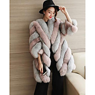 Feminino Casaco de Pêlo Tamanhos Grandes Simples Outono Inverno,Estampa Colorida Longo Pêlo de Raposa Decote Redondo Manga Longa