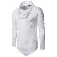 男性用 Tシャツ パンク&ゴシック タートルネック スリム ソリッド コットン