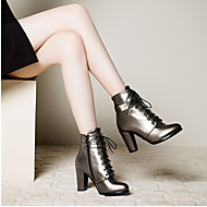 Women's Shoes PU Spring Fall Comfort Heels Chunky Heel Round Toe For Casual Black Silver