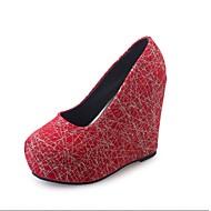 お買い得  レディースハイヒール-女性用 靴 ベルベット 夏 コンフォートシューズ ローファー&スリップアドオン ウォーキング ウエッジヒール ラウンドトウ のために カジュアル ブラック レッド ネービーブルー