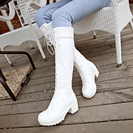 Women's Shoes PU Spring Comfort Boots Chunky Heel Round Toe For Casual White Black