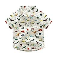 Drenge Skjorte Dyre Print,Bomuld Sommer Kortærmet Kort