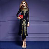 Pentru femei Ieșire Plus Size Vintage Bodycon Rochie-Culoare solidă Brodată Manșon Lung Stand Midi Bumbac Poliester Primăvară Toamnă