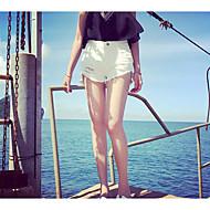 Feminino Simples Cintura Alta Micro-Elástica Shorts Calças,Perna larga Sólido