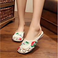 Feminino Sapatos Tecido Verão Conforto Sandálias Para Casual Preto Bege Vermelho