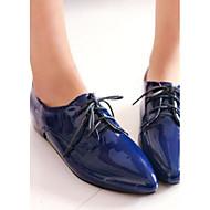 Damen Schuhe Lackleder Frühling Komfort Flache Schuhe Für Normal Weiß Schwarz Blau