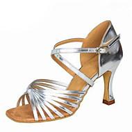 Dame Sko til latindans Silke / Syntetisk læder Sandaler Spænde Cubanske hæle Kan tilpasses Dansesko Sort / Sølv / Brun / Ydeevne / Læder