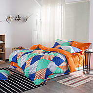 Duvet Cover Sets Geometric 4 Piece Reactive Print 1pc Duvet Cover 2pcs Shams 1pc Flat Sheet