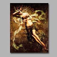 billiga Människomålningar-HANDMÅLAD Nude Vertikal, Artistisk Kineseri Kinesisk stil Yrke/Affär Nyår Duk Hang målad oljemålning Hem-dekoration En panel